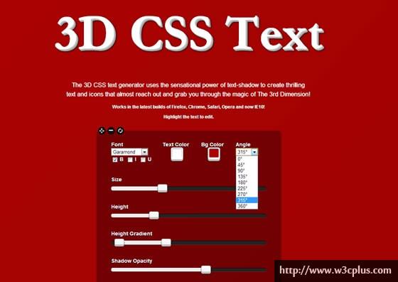 3D CSS Text